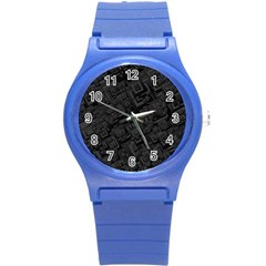 Black Rectangle Wallpaper Grey Round Plastic Sport Watch (s) by Amaryn4rt