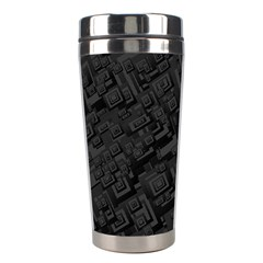 Black Rectangle Wallpaper Grey Stainless Steel Travel Tumblers by Amaryn4rt