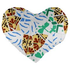 Broken Tile Texture Background Large 19  Premium Flano Heart Shape Cushions