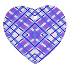 Geometric Plaid Pale Purple Blue Ornament (heart) by Amaryn4rt