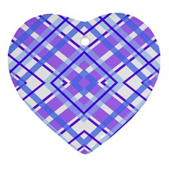 Geometric Plaid Pale Purple Blue Heart Ornament (two Sides) by Amaryn4rt