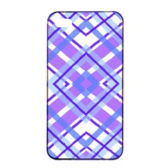Geometric Plaid Pale Purple Blue Apple Iphone 4/4s Seamless Case (black) by Amaryn4rt