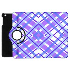 Geometric Plaid Pale Purple Blue Apple Ipad Mini Flip 360 Case by Amaryn4rt