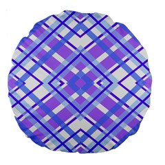 Geometric Plaid Pale Purple Blue Large 18  Premium Round Cushions by Amaryn4rt