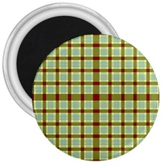 Geometric Tartan Pattern Square 3  Magnets by Amaryn4rt