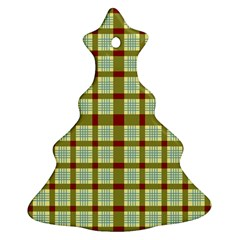 Geometric Tartan Pattern Square Christmas Tree Ornament (two Sides) by Amaryn4rt