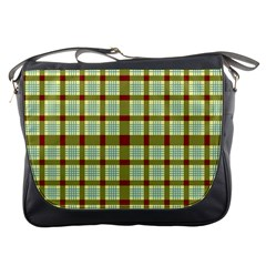 Geometric Tartan Pattern Square Messenger Bags by Amaryn4rt