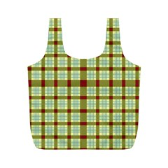 Geometric Tartan Pattern Square Full Print Recycle Bags (m)  by Amaryn4rt