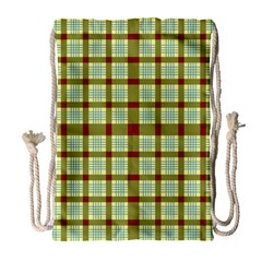Geometric Tartan Pattern Square Drawstring Bag (large)