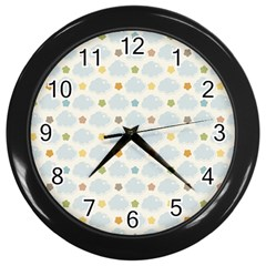 Baby Cloudy Star Cloud Rainbow Blue Sky Wall Clocks (black) by Alisyart