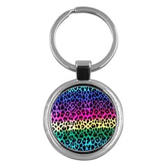 Cheetah Neon Rainbow Animal Key Chains (round)  by Alisyart