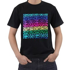 Cheetah Neon Rainbow Animal Men s T Shirt (black) (two Sided)