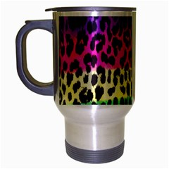 Cheetah Neon Rainbow Animal Travel Mug (silver Gray) by Alisyart