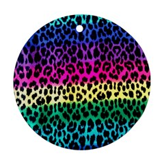 Cheetah Neon Rainbow Animal Round Ornament (two Sides) by Alisyart