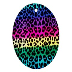 Cheetah Neon Rainbow Animal Oval Ornament (two Sides) by Alisyart