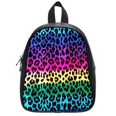Cheetah Neon Rainbow Animal School Bags (small)  by Alisyart
