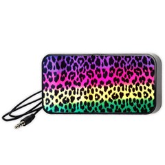 Cheetah Neon Rainbow Animal Portable Speaker (black) by Alisyart