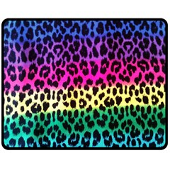 Cheetah Neon Rainbow Animal Double Sided Fleece Blanket (medium)  by Alisyart