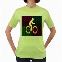 Bike Neon Colors Graphic Bright Bicycle Light Purple Orange Gold Green Blue Women s Green T Shirt