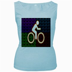 Bike Neon Colors Graphic Bright Bicycle Light Purple Orange Gold Green Blue Women s Baby Blue Tank Top