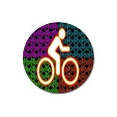 Bike Neon Colors Graphic Bright Bicycle Light Purple Orange Gold Green Blue Magnet 3  (round) by Alisyart
