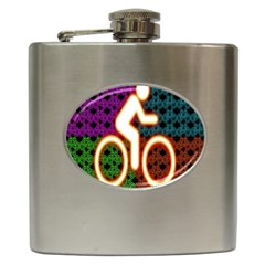 Bike Neon Colors Graphic Bright Bicycle Light Purple Orange Gold Green Blue Hip Flask (6 Oz) by Alisyart