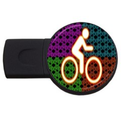 Bike Neon Colors Graphic Bright Bicycle Light Purple Orange Gold Green Blue Usb Flash Drive Round (4 Gb) by Alisyart