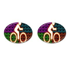 Bike Neon Colors Graphic Bright Bicycle Light Purple Orange Gold Green Blue Cufflinks (oval) by Alisyart