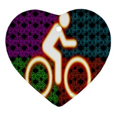 Bike Neon Colors Graphic Bright Bicycle Light Purple Orange Gold Green Blue Heart Ornament (two Sides) by Alisyart