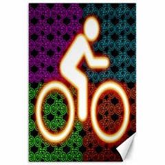 Bike Neon Colors Graphic Bright Bicycle Light Purple Orange Gold Green Blue Canvas 20  X 30   by Alisyart