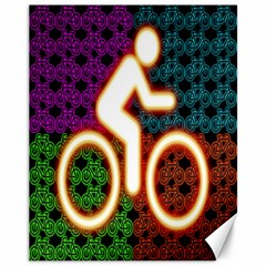 Bike Neon Colors Graphic Bright Bicycle Light Purple Orange Gold Green Blue Canvas 11  X 14   by Alisyart