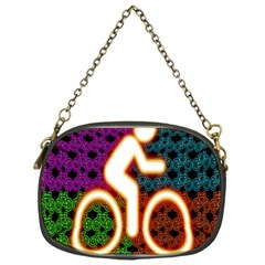 Bike Neon Colors Graphic Bright Bicycle Light Purple Orange Gold Green Blue Chain Purses (one Side)