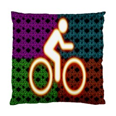 Bike Neon Colors Graphic Bright Bicycle Light Purple Orange Gold Green Blue Standard Cushion Case (two Sides)