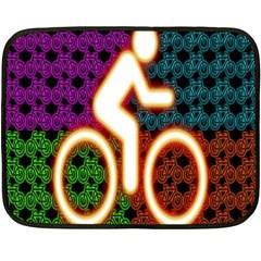 Bike Neon Colors Graphic Bright Bicycle Light Purple Orange Gold Green Blue Fleece Blanket (mini) by Alisyart
