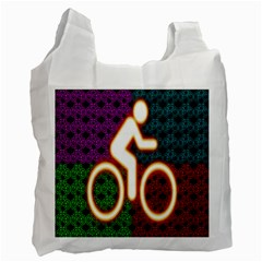 Bike Neon Colors Graphic Bright Bicycle Light Purple Orange Gold Green Blue Recycle Bag (two Side)  by Alisyart