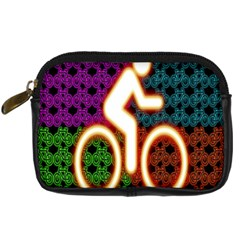 Bike Neon Colors Graphic Bright Bicycle Light Purple Orange Gold Green Blue Digital Camera Cases by Alisyart