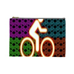Bike Neon Colors Graphic Bright Bicycle Light Purple Orange Gold Green Blue Cosmetic Bag (large)  by Alisyart