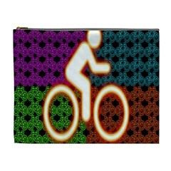 Bike Neon Colors Graphic Bright Bicycle Light Purple Orange Gold Green Blue Cosmetic Bag (xl) by Alisyart
