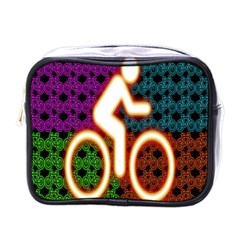 Bike Neon Colors Graphic Bright Bicycle Light Purple Orange Gold Green Blue Mini Toiletries Bags by Alisyart