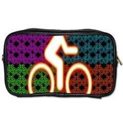 Bike Neon Colors Graphic Bright Bicycle Light Purple Orange Gold Green Blue Toiletries Bags by Alisyart