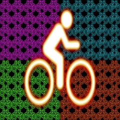 Bike Neon Colors Graphic Bright Bicycle Light Purple Orange Gold Green Blue Magic Photo Cubes by Alisyart
