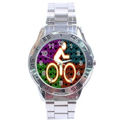 Bike Neon Colors Graphic Bright Bicycle Light Purple Orange Gold Green Blue Stainless Steel Analogue Watch by Alisyart