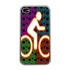 Bike Neon Colors Graphic Bright Bicycle Light Purple Orange Gold Green Blue Apple Iphone 4 Case (clear) by Alisyart