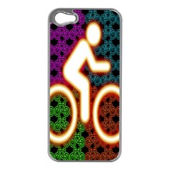 Bike Neon Colors Graphic Bright Bicycle Light Purple Orange Gold Green Blue Apple Iphone 5 Case (silver) by Alisyart