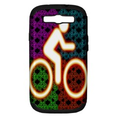 Bike Neon Colors Graphic Bright Bicycle Light Purple Orange Gold Green Blue Samsung Galaxy S Iii Hardshell Case (pc+silicone) by Alisyart