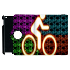 Bike Neon Colors Graphic Bright Bicycle Light Purple Orange Gold Green Blue Apple Ipad 3/4 Flip 360 Case