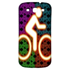 Bike Neon Colors Graphic Bright Bicycle Light Purple Orange Gold Green Blue Samsung Galaxy S3 S Iii Classic Hardshell Back Case