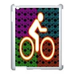 Bike Neon Colors Graphic Bright Bicycle Light Purple Orange Gold Green Blue Apple Ipad 3/4 Case (white)