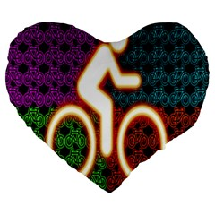 Bike Neon Colors Graphic Bright Bicycle Light Purple Orange Gold Green Blue Large 19  Premium Heart Shape Cushions