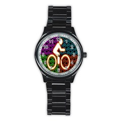 Bike Neon Colors Graphic Bright Bicycle Light Purple Orange Gold Green Blue Stainless Steel Round Watch